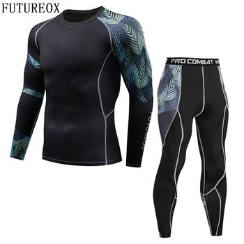 2018 New Mens Thermal Underwear Set Compression Shirt Iron Tree Leaves Fleece Sweats Quick-drying Underwear Men Long Johns 1