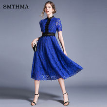 SMTHMA High Quality Women's Summer Lace Dresses Floral Crochet Hollow Out Patchwork Casual Slim Office Party Dress Vestidos(China)