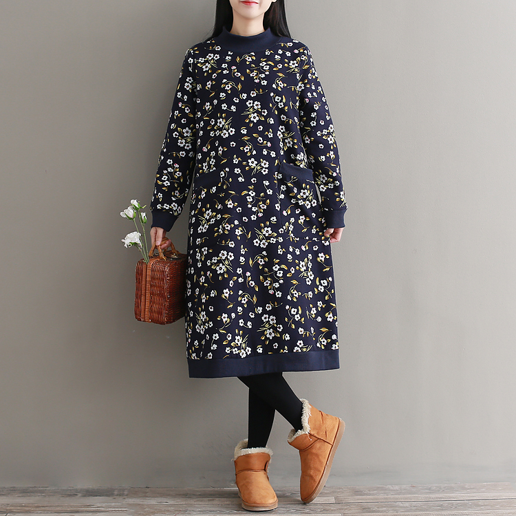 Casual Vintage Retro Harajuku Dames Kleding Loose Velvet Floral Cotton Tunique Femme Long Sleeve Thick Women Autumn Wnter Dress ...