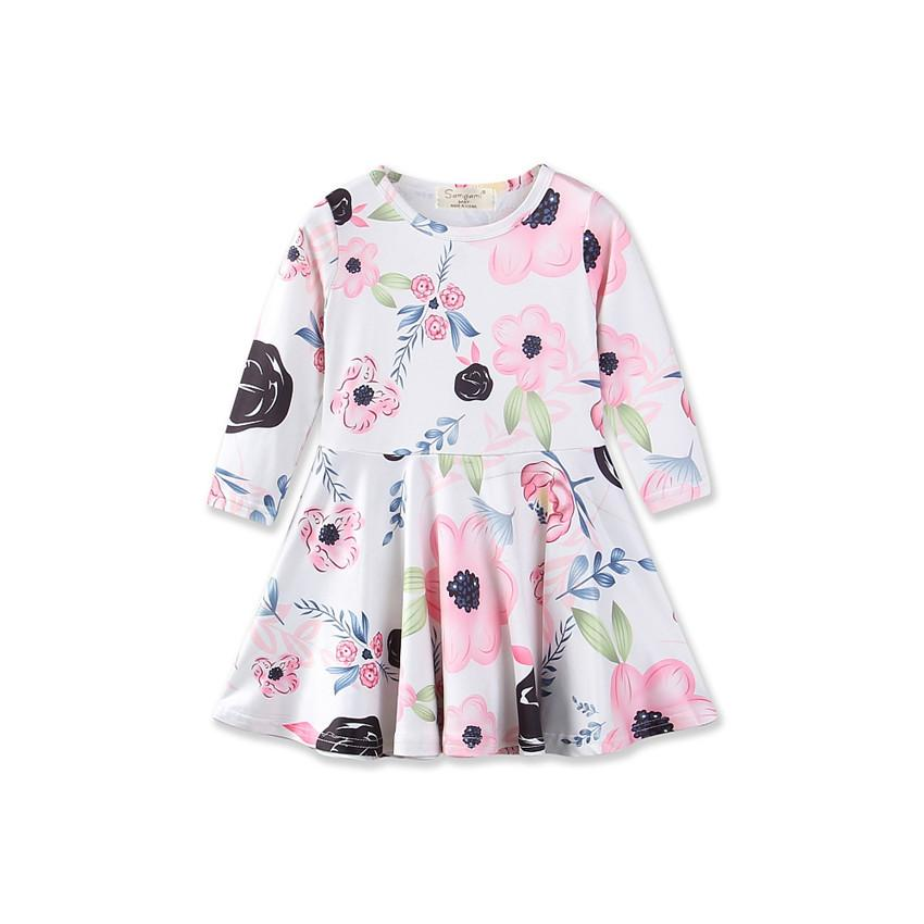 Flower Long Sleeve Baby Kids Dresses 2018 Spring New Style Fashion Girls Dress 1 2 3 4 Year Toddler Children Princess Clothing 2 7y princess children girls white lace dress brand new long sleeve toddler kids elegant party dresses one pieces clothing
