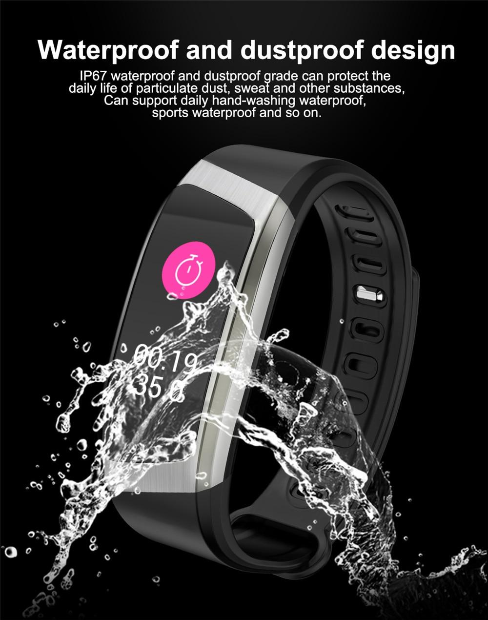HTB1SIHvKXmWBuNjSspdq6zugXXaL Greentiger E18 Smart Bracelet Blood Pressure Heart Rate Monitor Fitness Tracker smart watch IP67 Waterproof camera Sports Band