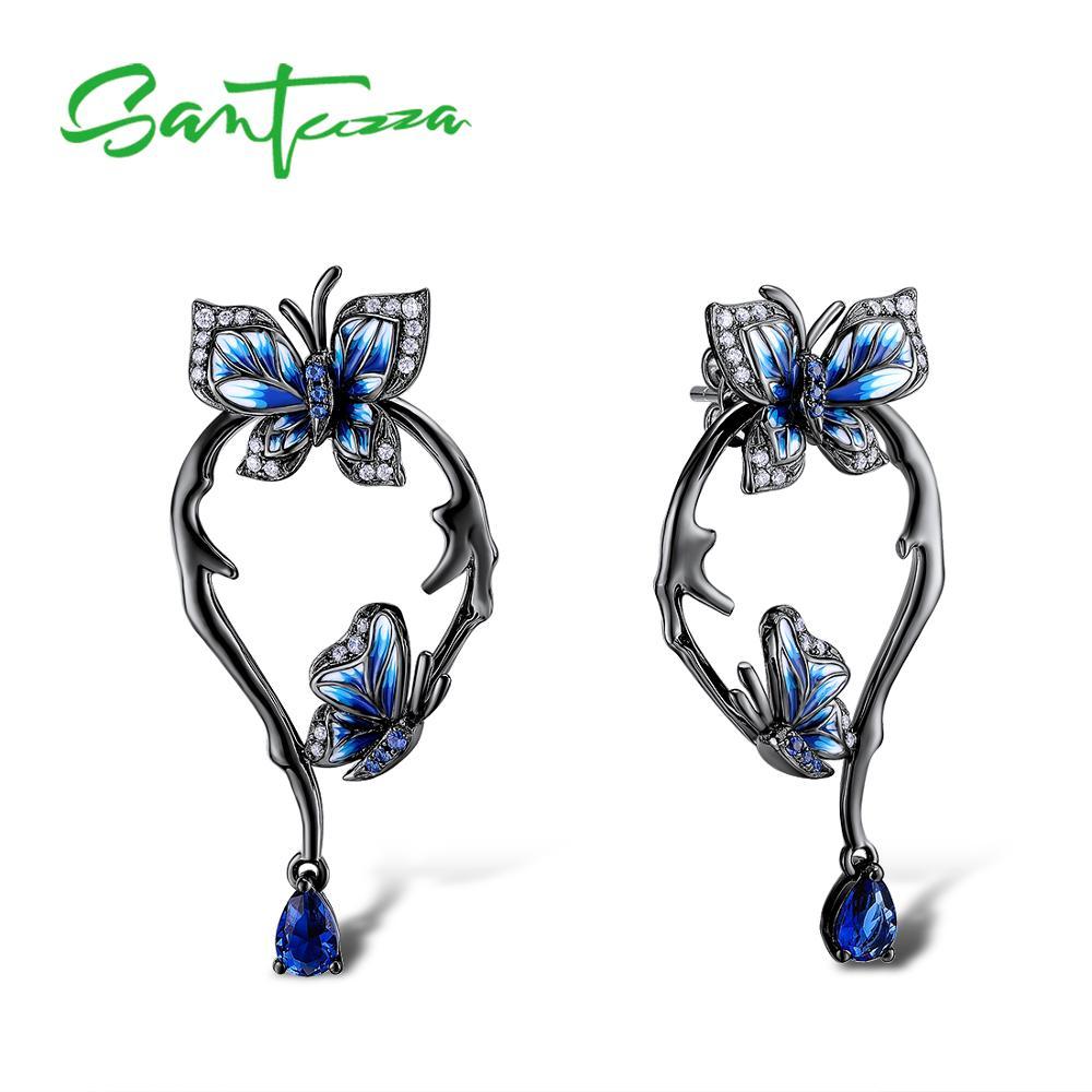 SANTUZZA Silver Earrings For Women Genuine 925 Sterling Silver Blue Butterfly Earrings Glamorous Fashion Jewelry Handmade enamel недорго, оригинальная цена