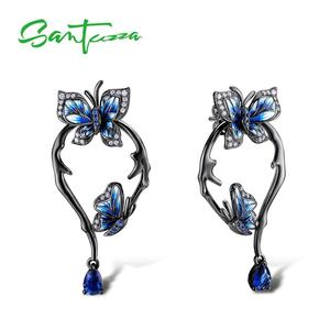 Image 1 - SANTUZZA Silver Earrings For Women Genuine 925 Sterling Silver Blue Butterfly Earrings Glamorous Fashion Jewelry Handmade enamel
