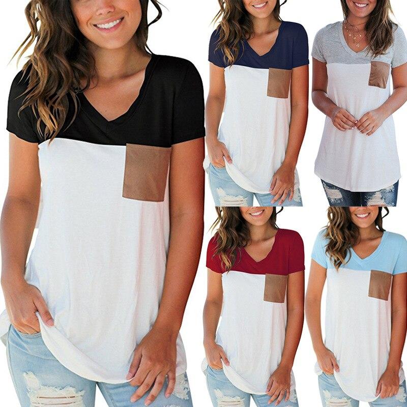 Phertiful New Arrival Fashion Patchwork Tshirt Women T-shirt Sleeveless Tees Ladies V-Neck Plus Feminino Beach Pullovers S-3XL