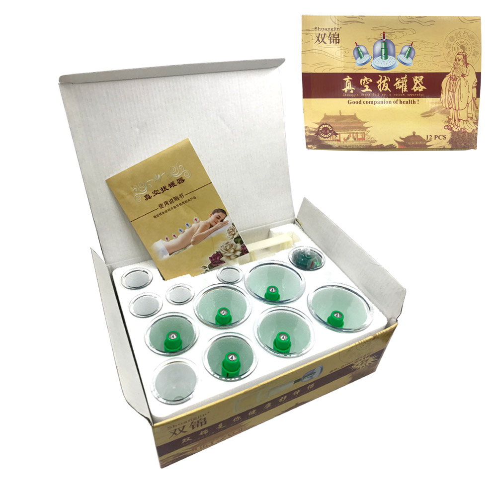 ShuangJ NEW Chinese Medical Vacuum 12 Pcs Cupping Set Portable Massage Therapy Kit Body