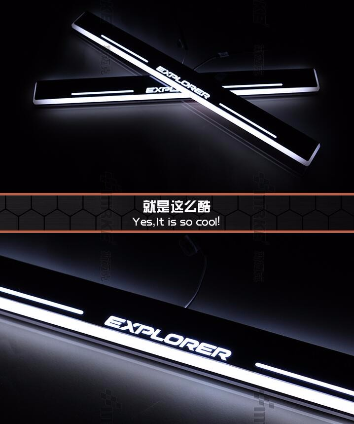 WOOBEST Waterproof Ultrathin Acrylic LED door sill for ford Explorer 2011-14, Led moving door scuff plate, Pathway light woobest acrylic led door sill for jaguar xf 2010 15 jaguar xj xjl 2010 15 led moving door scuff plate pathway light