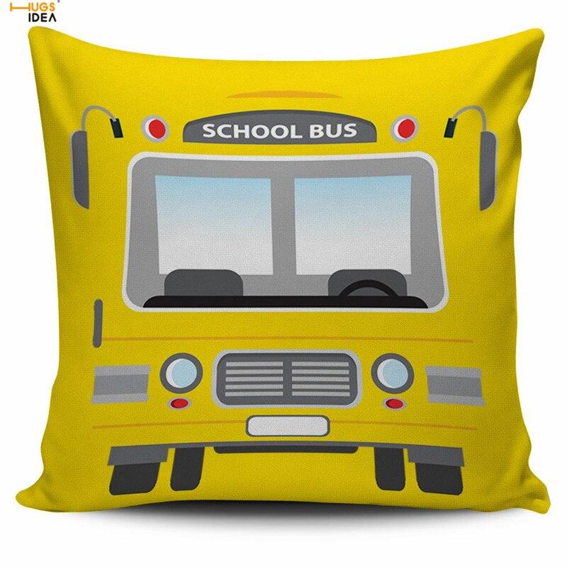 HUGSIDEA School Bus Driver Print Yellow Cushion Cover Fashionable Square Throw Pillowcas ...