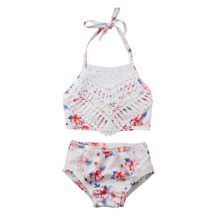 Girl Swimwear Toddler Baby Girl Lace Floral Swimwear Bathing Suit Swimsuit Beachwear Clothes -3779