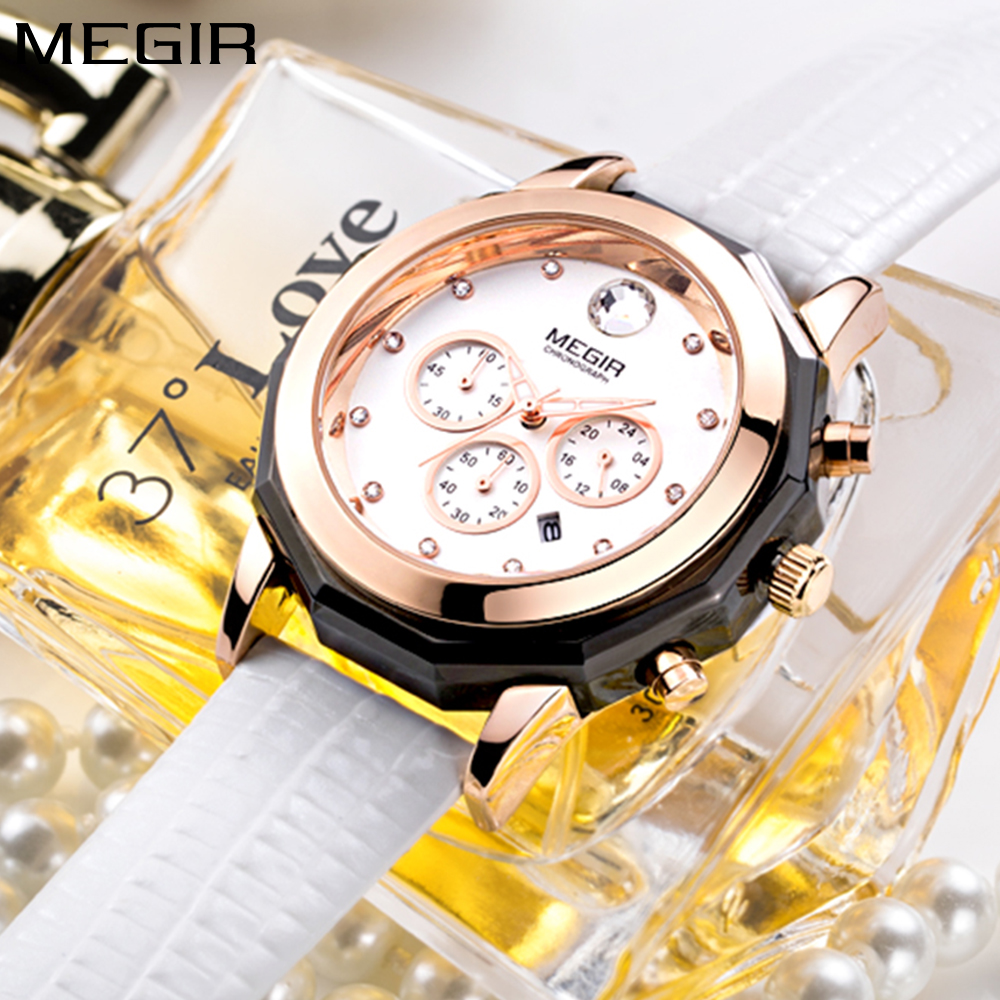 MEGIR Fashion Large Dial Casual Ladies Watch Women White Leather band Waterproof Rose Gold Watches Woman Quartz Wristwatch Clock megir brand luxury fashion rose gold watch quartz watches women red leather band wristwatch ladies clock women reloj mujer 2018