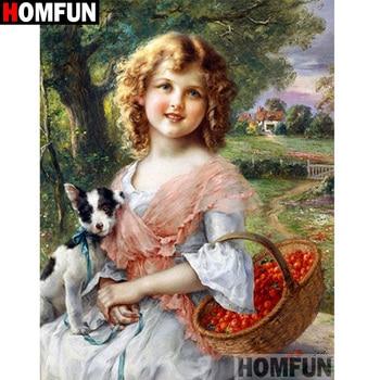 "HOMFUN taladro cuadrado/redondo completo 5D DIY pintura de diamante ""Beauty dog"" 3D diamante bordado punto de cruz decoración del hogar A19871"
