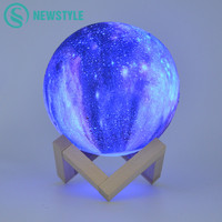 3D Print Moon Lamp Colorful Change Night Light Touch Switch Bedroom Bedside Bookcase Night Light Home Decoration Creative Gift