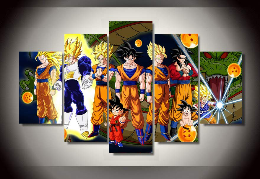 New 5 Pieces Sets Canvas Art 5 Panels Dragon Ball Z Hd Canvas