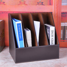 Four-row seat PU leather file folder document holder creative finishing disc storage documents rack