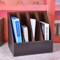 Four row seat PU leather file folder document holder creative finishing disc storage documents rack