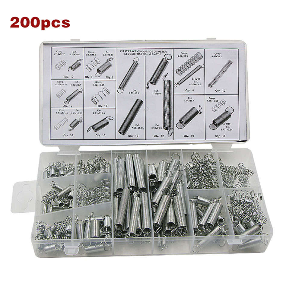 200 Pcs Springs Set Mixed Size Metal Tension/Compresion Spring Kit @8 JDH99200 Pcs Springs Set Mixed Size Metal Tension/Compresion Spring Kit @8 JDH99