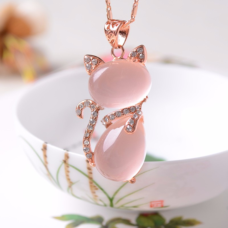 Female money natural crystal powder rose ling fox pendant love necklace jewelry