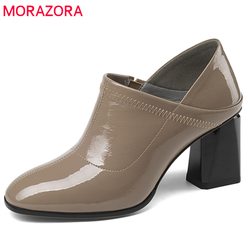 MORAZORA 2018 newest spring autumn women pumps cow patent leather high heels shoes round toe shallow elegant dress shoes woman wetkiss 2018 spring women shoes patent cow leather pumps woman zipper square toe thick high heels shoes female elegant footwear