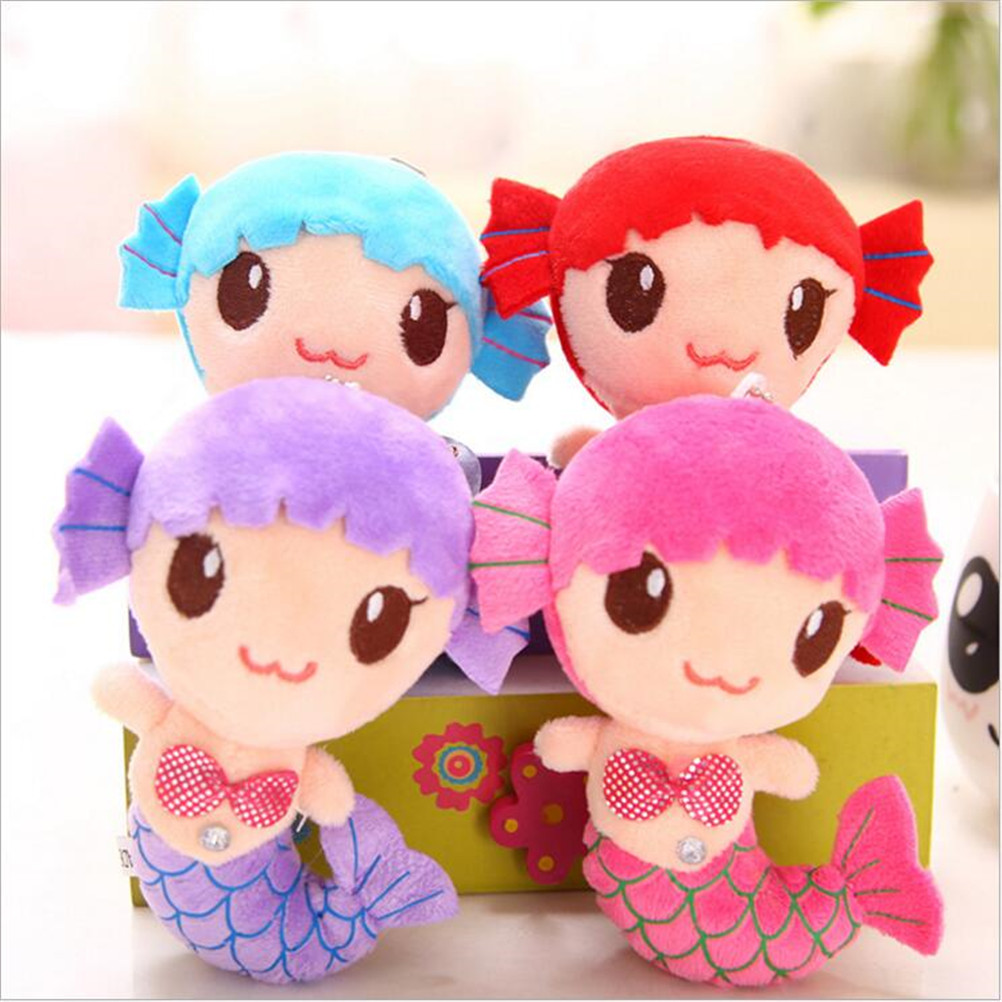 New Cute Sea-maid Mermaid Princess Stuffed Crystal Toys Baby Girls Plush Dolls Toys 15CM Fish Design Cute Kids Gift Toys