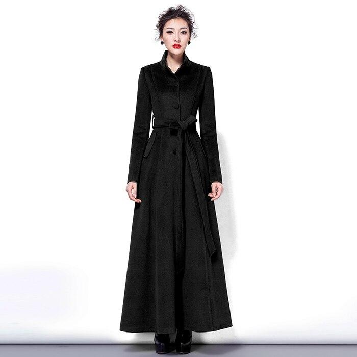 2019 Moda Qatı Rəngli Yun Palto Uzun yun Pencək Qadın Vintage - Qadın geyimi - Fotoqrafiya 3
