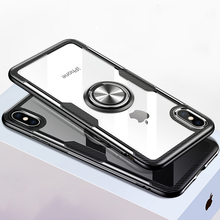 Clear Magnetic Phone Case For iPhone XR Xs Max X 8 7 6S 6 Plus Case Tempered Glass Finger Ring Adsorption Business Cover Cases