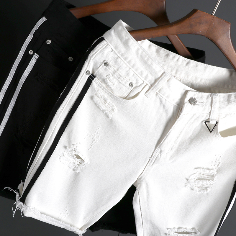 2018 Summer New Men Fashion Casual Black/white Holes Jeans Shorts Side Stripe Knee Length Straight Denim Leisure Trousers M-2XL