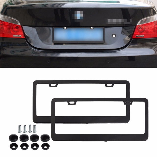 2pcs/set Black/Silver Stainless Steel License Plate Frame for BMW ...