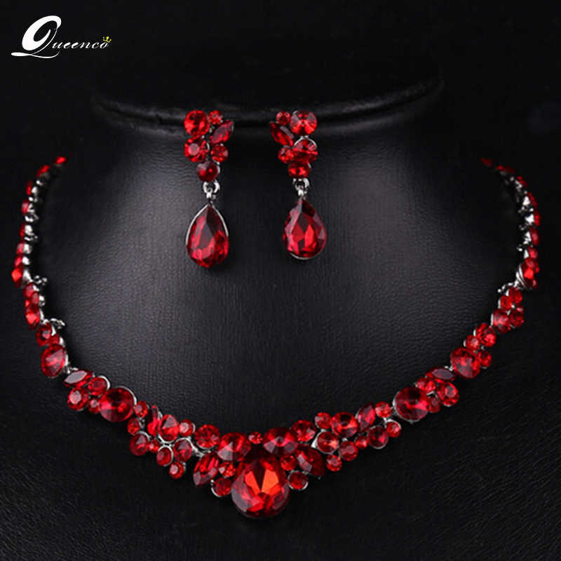 The new bride jewelry luxury red cheongsam wedding accessories african beads jewelry set maxi necklace earrings