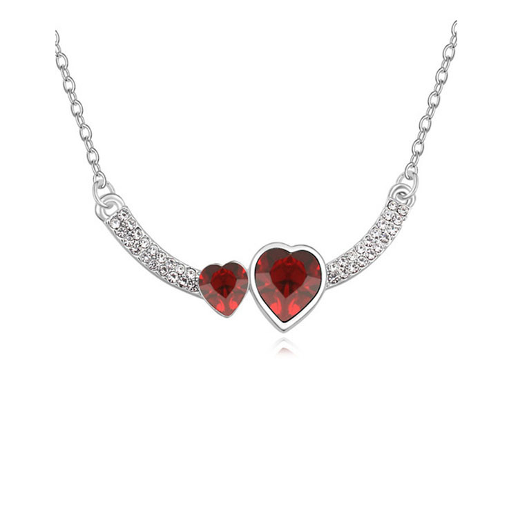 Double Crystal Heart Pendant Necklace 5