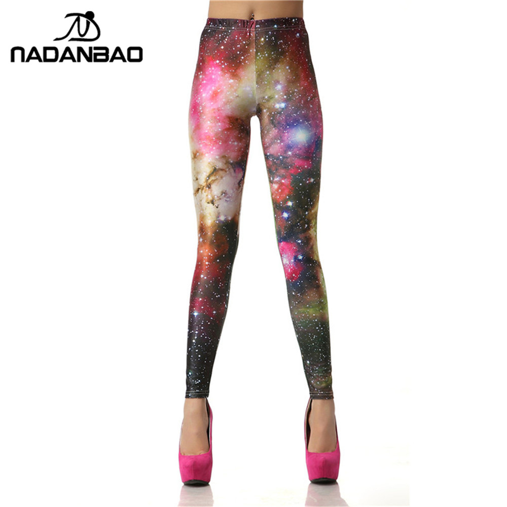 NADANBAO 2018 New Design Galaxy Women   leggings   3D Digital Star Slim Legins Colorful Leggins Printed Women   Leggings   Puls Size