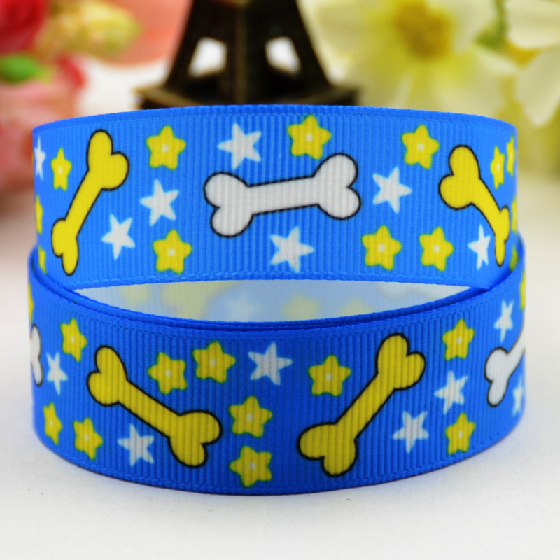 78'' (22mm) Dog bone Cartoon Character printed Grosgrain Ribbon party decoration satin ribbons X-01162 OEM 10 Yards