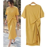 2019 New Popular Women Dress Plus Size XXXXL Fat MM Loose Slim Dress Summer Short Sleeve Solid Color Tshirt Dress A128