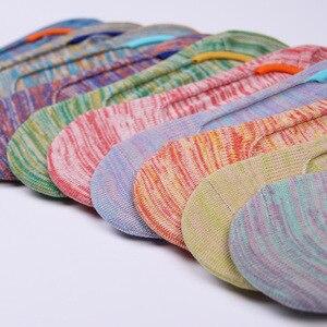 Image 2 - Calcetines invisibles de algodón para mujer, calcetín antideslizante, transpirable, colorido, Primavera, novedad de verano