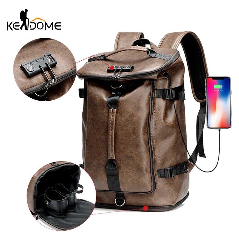 PU Leather Men s Backpack Climbing Rucksack Large Capacity Anti theft Shoulder Handbag Travel Bag for