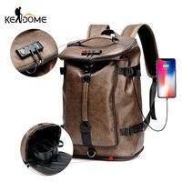 PU Leather Men's Backpack Climbing Rucksack Large Capacity Anti theft Shoulder Handbag Travel Bag for men Sport 2019 New XA94D