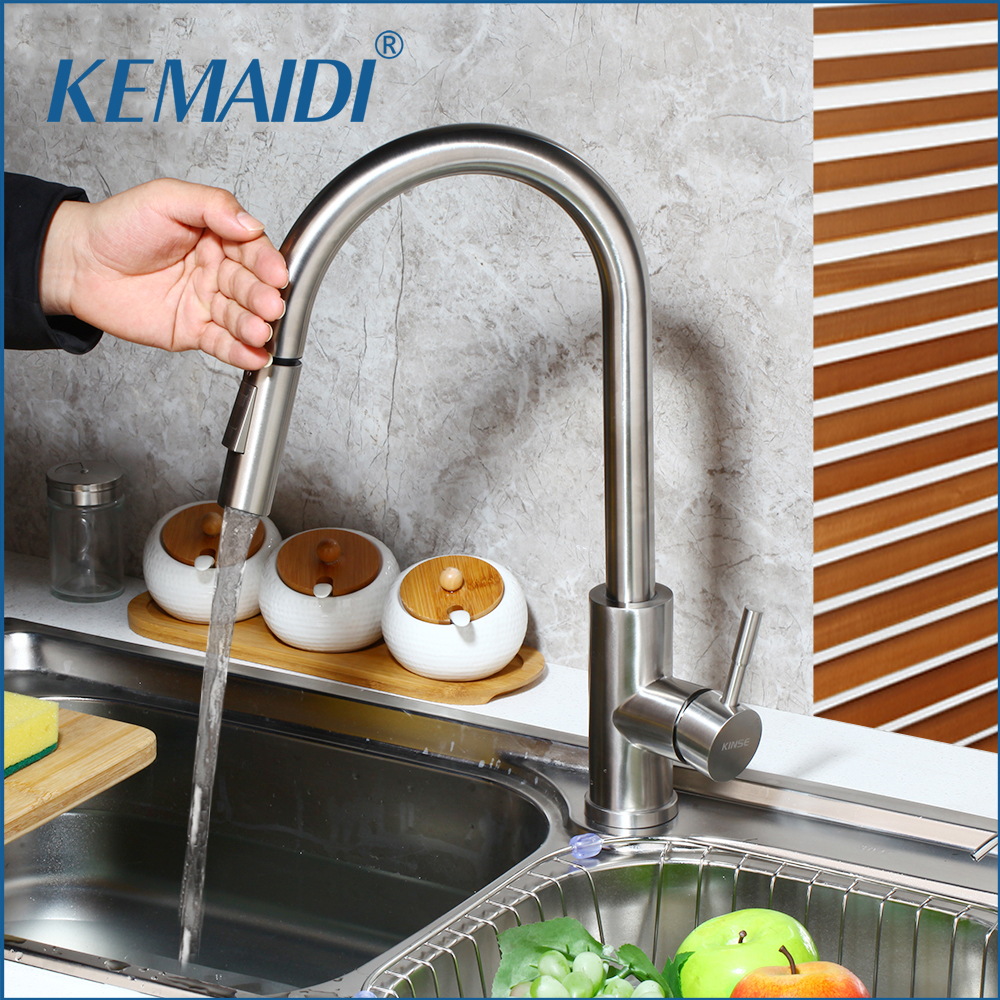 KEMAIDI Stainless Steel Touch Control Kitchen Faucets 3 Color Smart Sensor Kitchen Mixer Touch Faucet Kitchen Pull Down Sink Tap