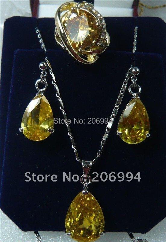 Стильный Крест фабричного производства ювелирных изделий желтый цирконовая подвеска на ожерелье кольцо серьги набор#178
