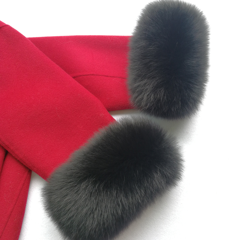 Custom Winter Warm Real Fox Fur Cuffs Raccoon Fur Sleevess Arm Warmer Lady Bracelet Real Fur Wristband Glove