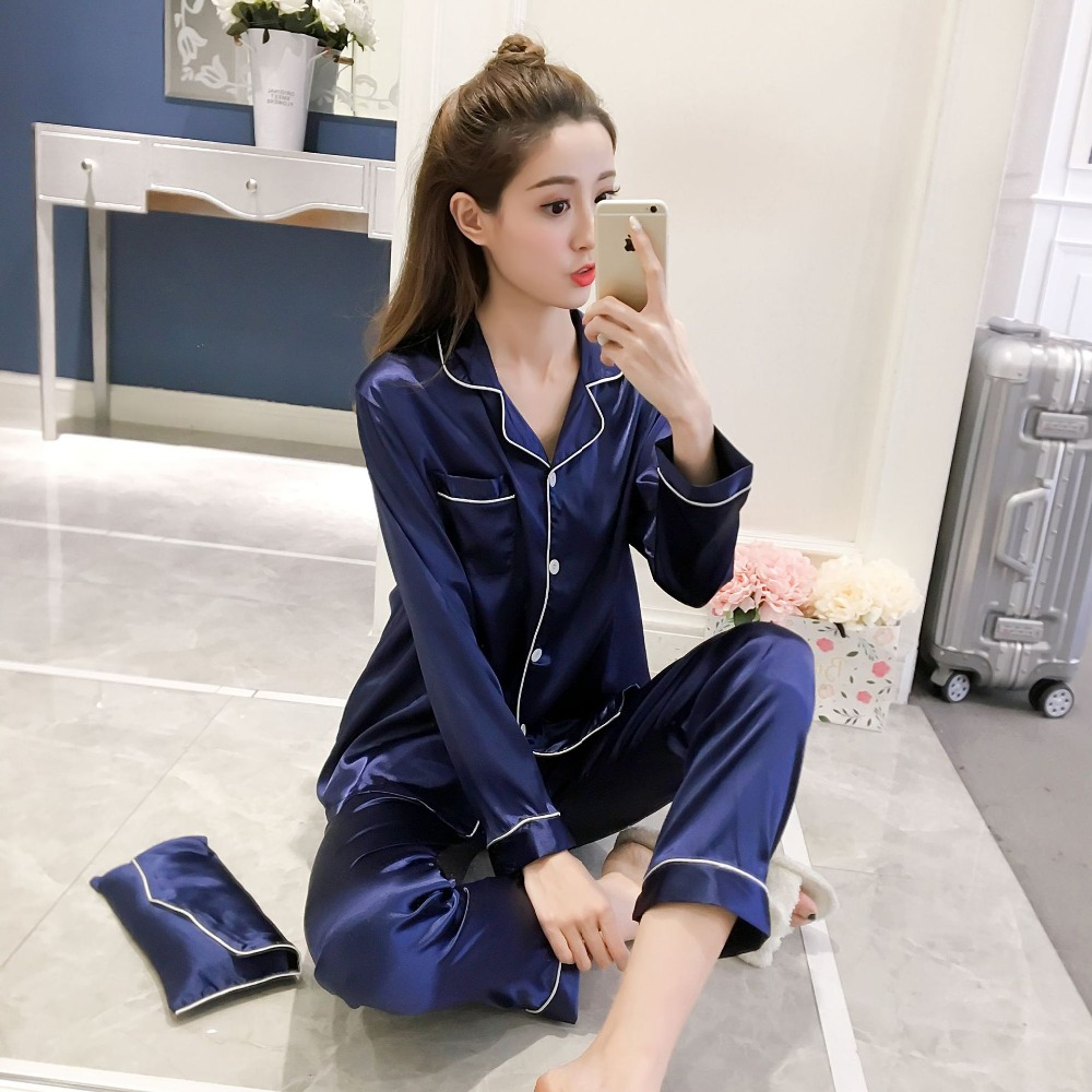 Women   Pajamas   2/pcs   Sets   Sexy Imitation Silk Pyjamas   Set   Loose Casual Pijamas For Women Sleepwear Mujer Feminino Femme Pyjamas
