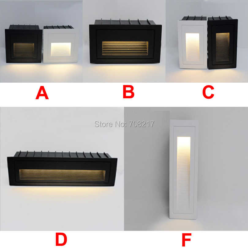 3W 4W LED Stair Steps Light Black White Gray LED Footlight Embedded Corner light AC85V-265V Indoor Outdoor Floor Lamp