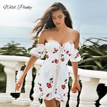WildPinky Backless Summer Print Dress Women Sexy Club Party Off Shoulder Mini A Line Dress High Waist Boho Tie Up Dress Vestidos plus tie waist dot print off shoulder dress