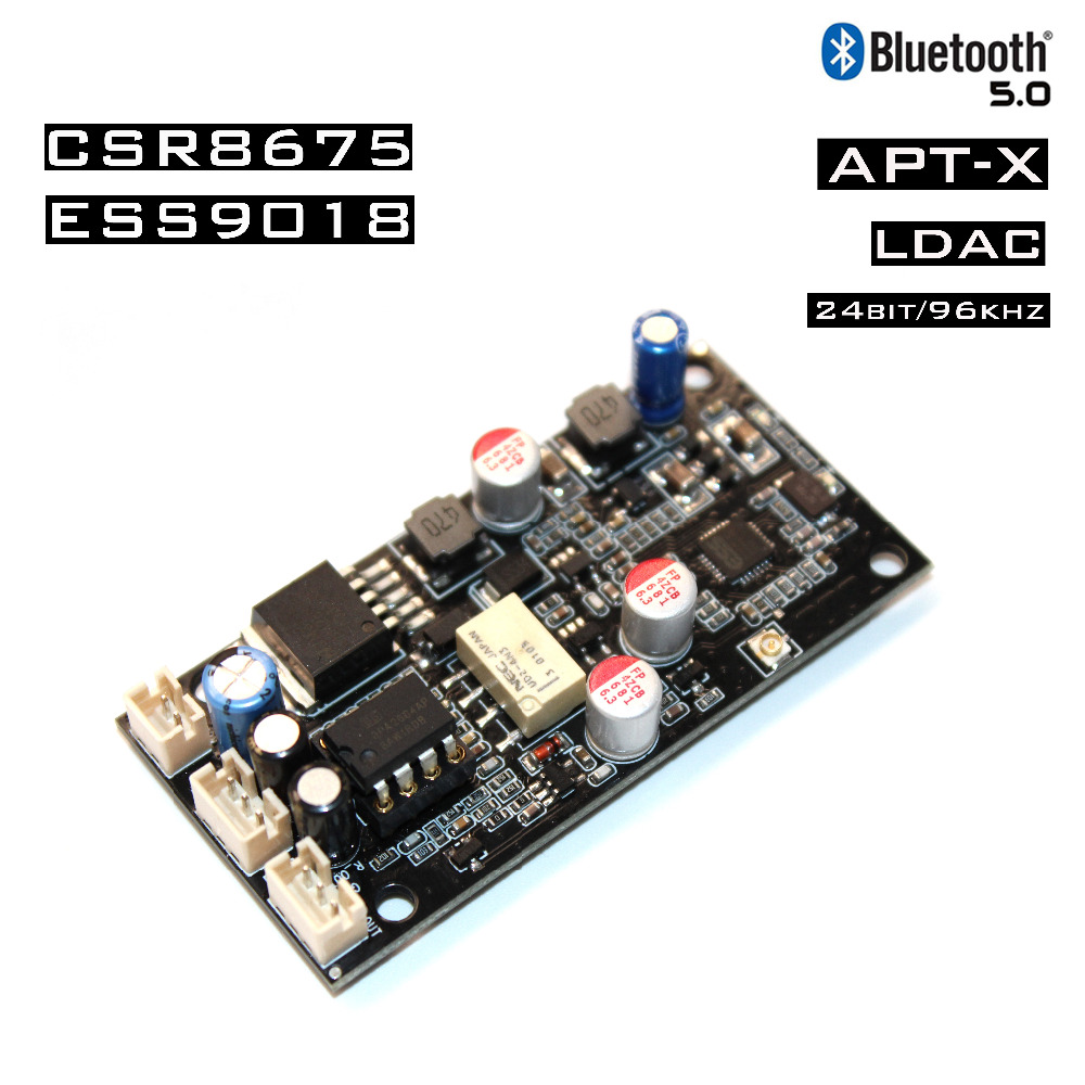 APTX HD CSR8675 Wireless Adapter Bluetooth 5.0 Receiver Board ES9018 I2S DAC Audio Decoder Board 24Bit/96Khz LDAC With Antenna