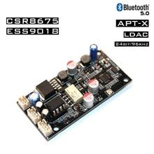 APTX HD CSR8675อะแดปเตอร์ไร้สายBluetooth 5.0บอร์ดES9018 I2S DACเครื่องถอดรหัสเสียง24Bit/96Khz LDACด้วยเสาอากาศ