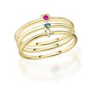JXXGS синий/белый/красный циркон модное простое кольцо 14 K Золотое кольцо сердце/Круглый/кольцо со звездами для женщин