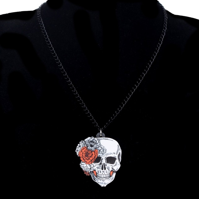Bonsny Statement Acrylic Halloween Rose Flower Skull Earrings Necklace Chain Jewelry Sets Retro Costumes Decoration For Women 3