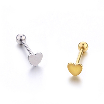 200 PCS Heart Tongue Ring Woman Man Fashion Tongue Piercing Polished Stainless Steel Tongue Stud jewelry Gold Silver