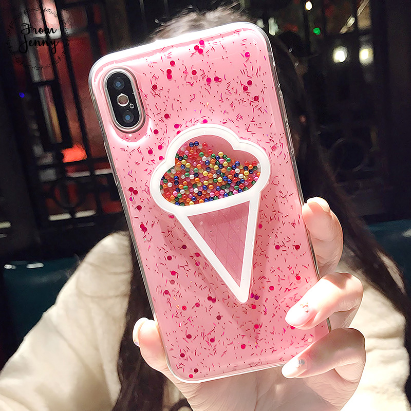 From Jenny Pink Transparent Ice Cream Phone Case for iPhone 7 7plus 6 6s Plus 8 8plus X Soft Cover for girls Fundas