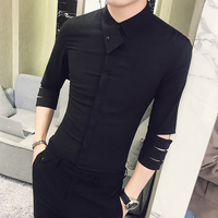 British Style Shirt Men 2018 Summer New Personality Slim Fit Tuxedo Shirt 3/4 Sleeve Night Club Party Dress Shirts Social 3XL M