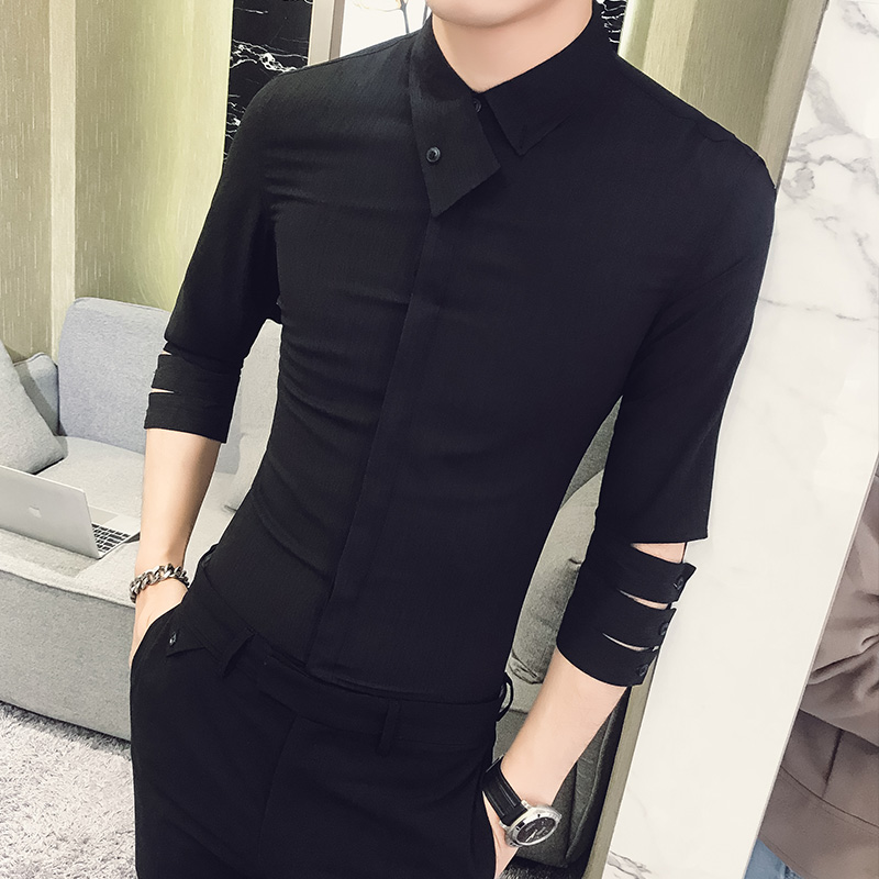 British Style Shirt Men 2019 Summer New Personality Slim Fit Tuxedo Shirt 3/4 Sleeve Night Club Party Dress Shirts Social 3XL-M