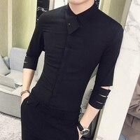 British Style Shirt Men 2018 Summer New Personality Slim Fit Tuxedo Shirt 3/4 Sleeve Night Club Party Dress Shirts Social 3XL M