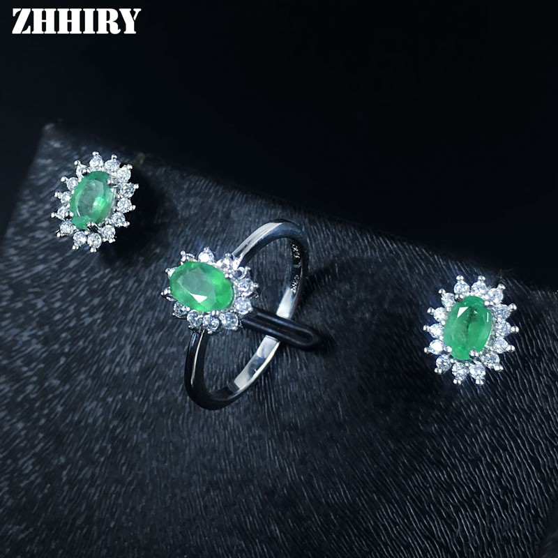 Natural Emerald Jewelry Set Solid 925 Sterling Silver Woman Stone Ring Earrings Precious Gem Birthstone Luxury